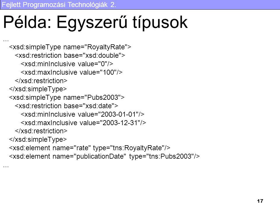 Fejlett Programozási Technológiák 2. 17 Példa: Egyszerű típusok......
