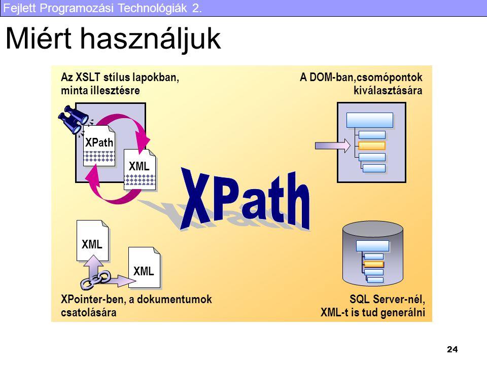 Fejlett Programozási Technológiák 2. 24 Miért használjuk Az XSLT stílus lapokban, minta illesztésre SQL Server-nél, XML-t is tud generálni XPointer-be