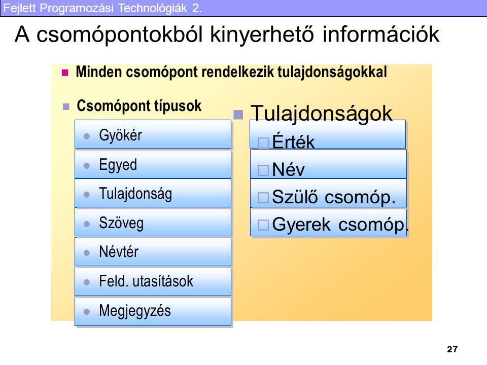 Fejlett Programozási Technológiák 2. 27 A csomópontokból kinyerhető információk Tulajdonságok  Érték  Név  Szülő csomóp.  Gyerek csomóp. Csomópont
