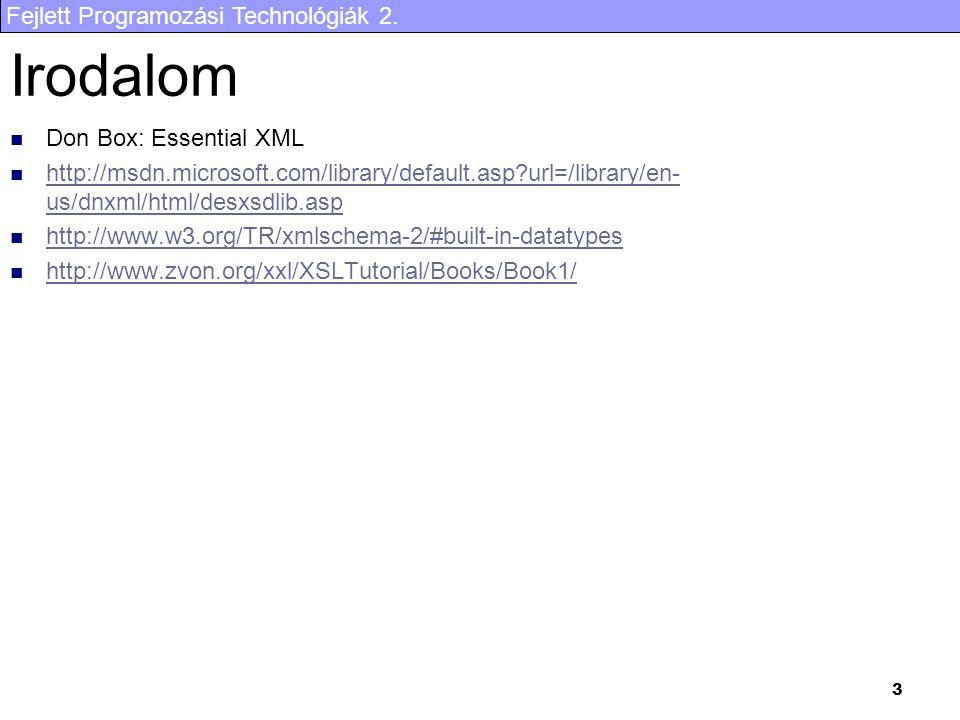 Fejlett Programozási Technológiák 2. 3 Irodalom Don Box: Essential XML http://msdn.microsoft.com/library/default.asp?url=/library/en- us/dnxml/html/de