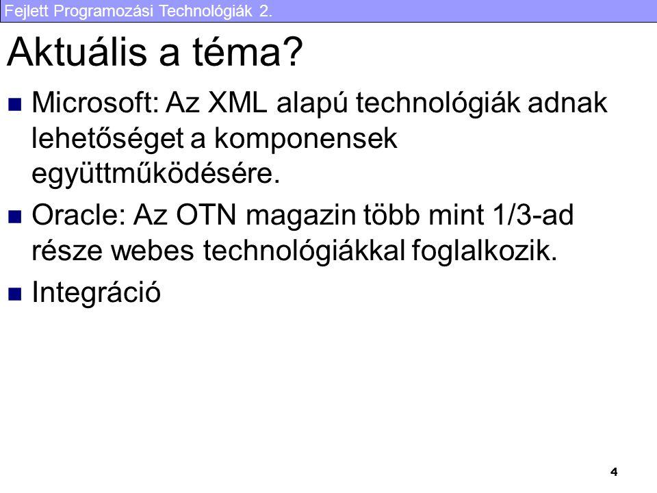 Fejlett Programozási Technológiák 2. 4 Aktuális a téma? Microsoft: Az XML alapú technológiák adnak lehetőséget a komponensek együttműködésére. Oracle: