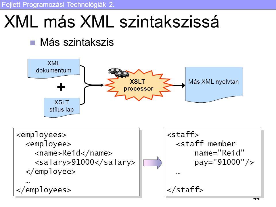 Fejlett Programozási Technológiák 2. 44 XML más XML szintakszissá Más szintakszis XML dokumentum XSLT stílus lap + XSLT processor Más XML nyelvtan Rei