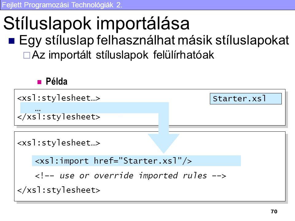 Fejlett Programozási Technológiák 2. 70 Stíluslapok importálása Egy stíluslap felhasználhat másik stíluslapokat  Az importált stíluslapok felülírható