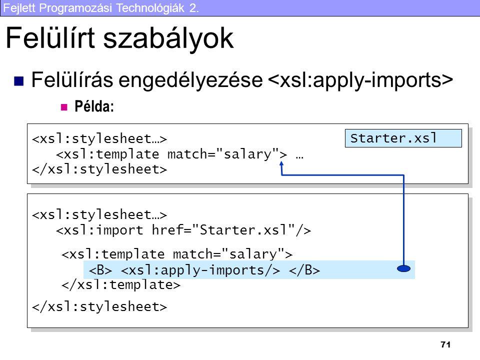 Fejlett Programozási Technológiák 2. 71 Felülírt szabályok Felülírás engedélyezése … … Starter.xsl Példa: