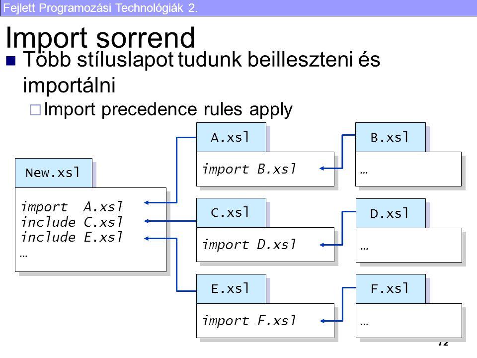 Fejlett Programozási Technológiák 2. 72 Több stíluslapot tudunk beilleszteni és importálni  Import precedence rules apply Import sorrend New.xsl impo