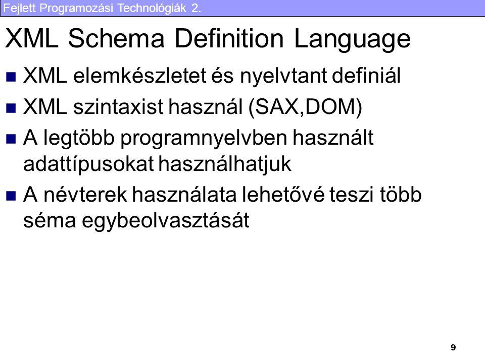 Fejlett Programozási Technológiák 2. 9 XML Schema Definition Language XML elemkészletet és nyelvtant definiál XML szintaxist használ (SAX,DOM) A legtö