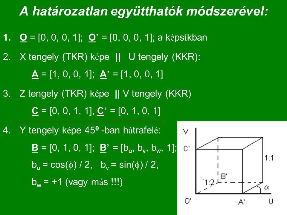 A határozatlan együtthatók módszerével: 1.O = [0, 0, 0, 1]; O ' = [0, 0, 0, 1]; a k é ps í kban 2.X tengely (TKR) k é pe || U tengely (KKR): A = [1, 0
