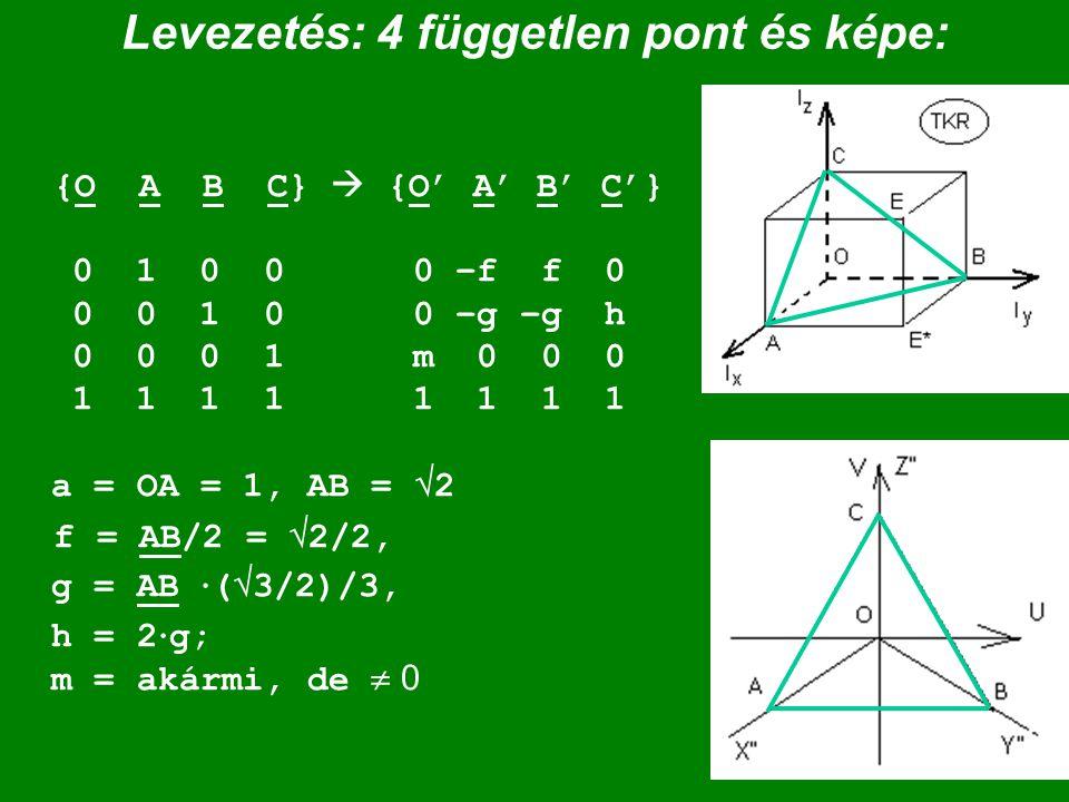 Levezetés: 4 független pont és képe: {O A B C}  {O' A' B' C'} 0 1 0 0 0 –f f 0 0 0 1 0 0 –g –g h 0 0 0 1 m 0 0 0 1 1 1 1 1 1 1 1 a = OA = 1, AB =  2