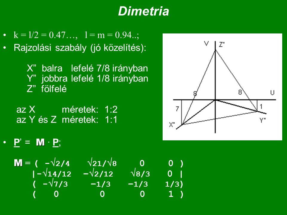 """Dimetria k = l/2 = 0.47…, l = m = 0.94..; Rajzolási szabály (jó közelítés): X"""" balra lefelé 7/8 irányban Y"""" jobbra lefelé 1/8 irányban Z"""" fölfelé az X"""