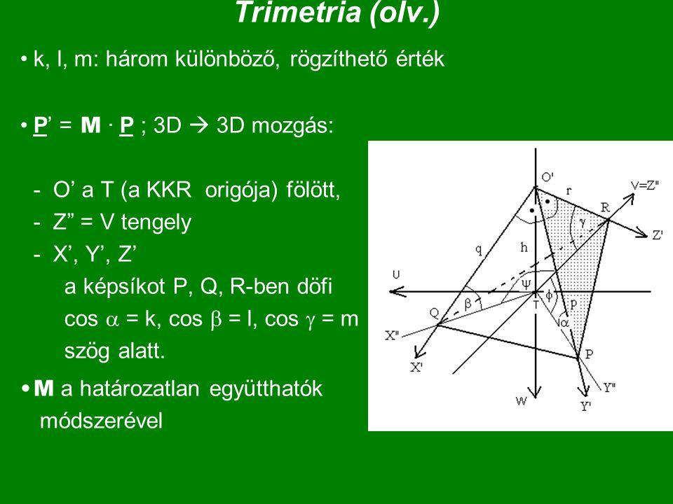 """Trimetria (olv.) k, l, m: három különböző, rögzíthető érték P' = M · P ; 3D  3D mozgás: - O' a T (a KKR origója) fölött, - Z"""" = V tengely - X', Y', Z"""