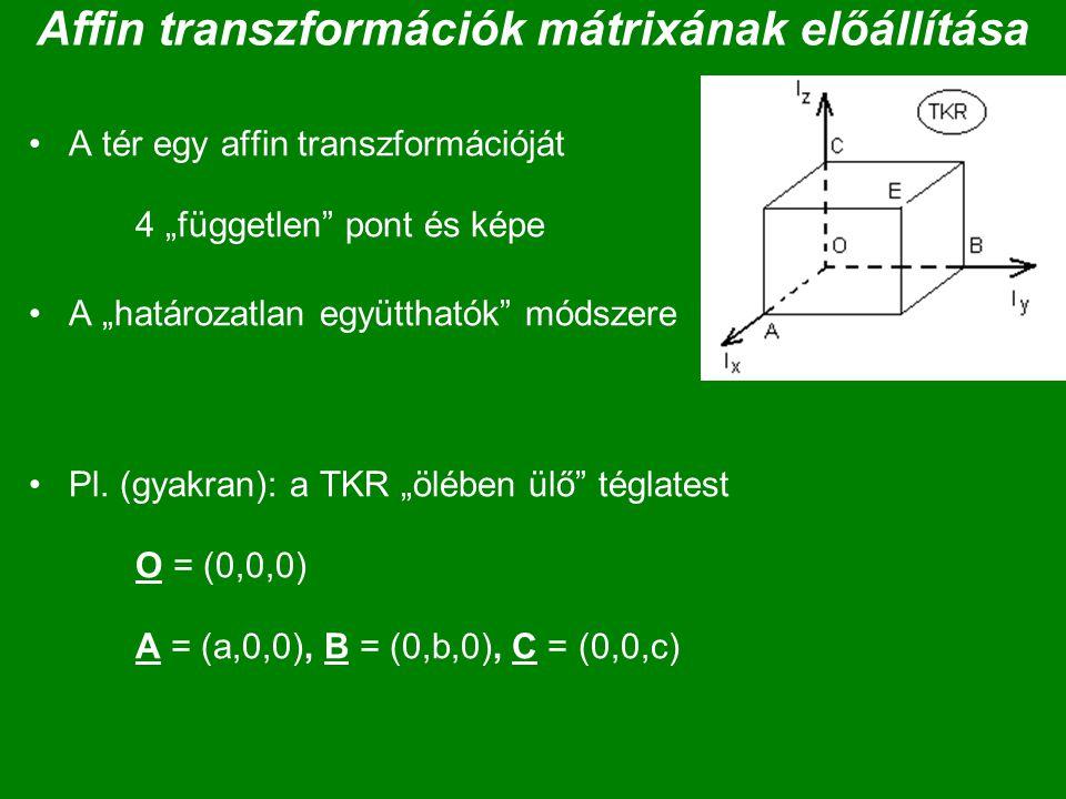"""Affin transzformációk mátrixának előállítása A tér egy affin transzformációját 4 """"független"""" pont és képe A """"határozatlan együtthatók"""" módszere Pl. (g"""