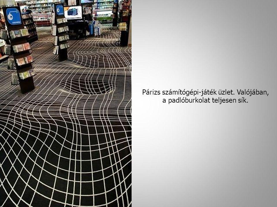 Párizs számítógépi-játék üzlet. Valójában, a padlóburkolat teljesen sík. 