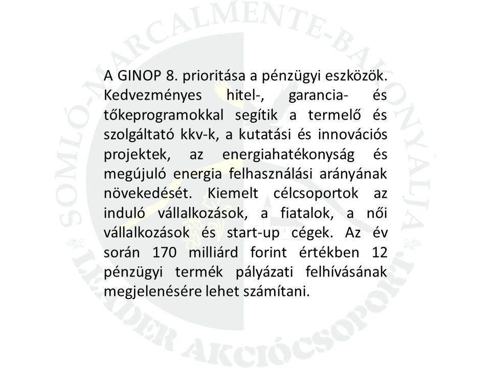A GINOP 8. prioritása a pénzügyi eszközök. Kedvezményes hitel-, garancia- és tőkeprogramokkal segítik a termelő és szolgáltató kkv-k, a kutatási és in