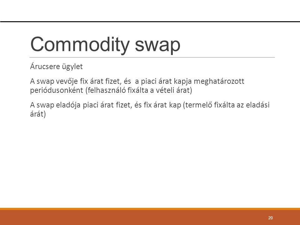 Commodity swap Árucsere ügylet A swap vevője fix árat fizet, és a piaci árat kapja meghatározott periódusonként (felhasználó fixálta a vételi árat) A