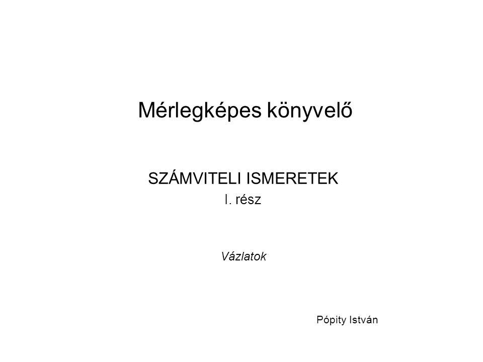 Mérlegképes könyvelő SZÁMVITELI ISMERETEK I. rész Vázlatok Pópity István