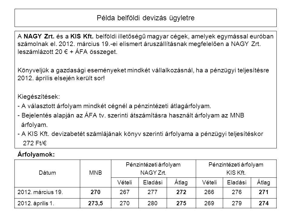 Példa belföldi devizás ügyletre A NAGY Zrt. és a KIS Kft. belföldi illetőségű magyar cégek, amelyek egymással euróban számolnak el. 2012. március 19.-