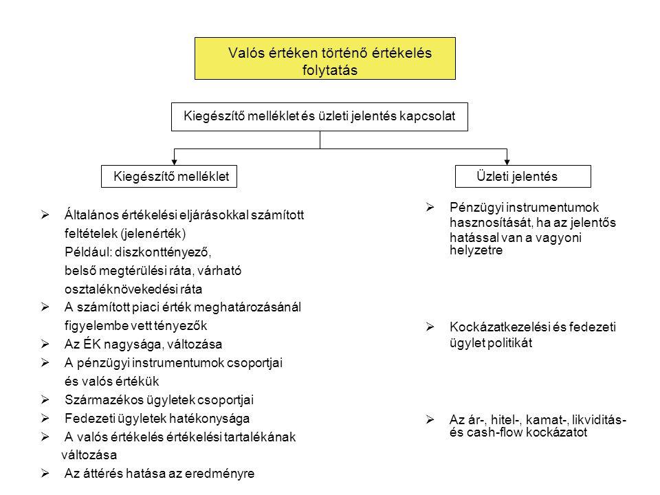 Valós értéken történő értékelés folytatás  Általános értékelési eljárásokkal számított feltételek (jelenérték) Például: diszkonttényező, belső megtér
