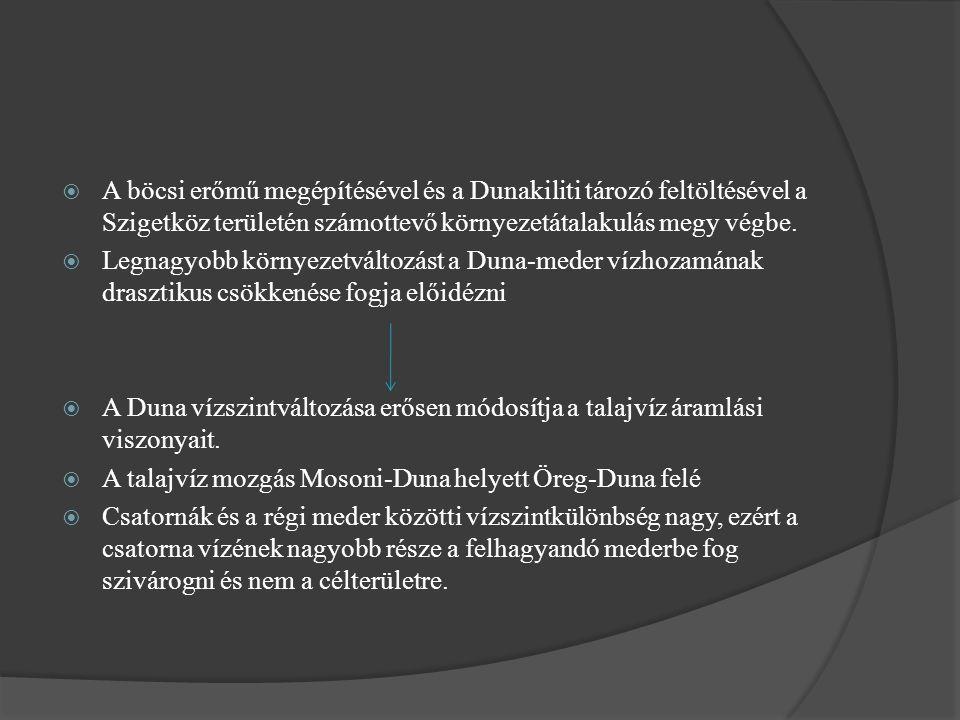  A böcsi erőmű megépítésével és a Dunakiliti tározó feltöltésével a Szigetköz területén számottevő környezetátalakulás megy végbe.