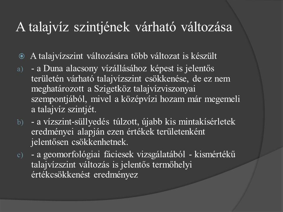 A talajvíz szintjének várható változása  A talajvízszint változására több változat is készült a) - a Duna alacsony vízállásához képest is jelentős területén várható talajvízszint csökkenése, de ez nem meghatározott a Szigetköz talajvízviszonyai szempontjából, mivel a középvízi hozam már megemeli a talajvíz szintjét.