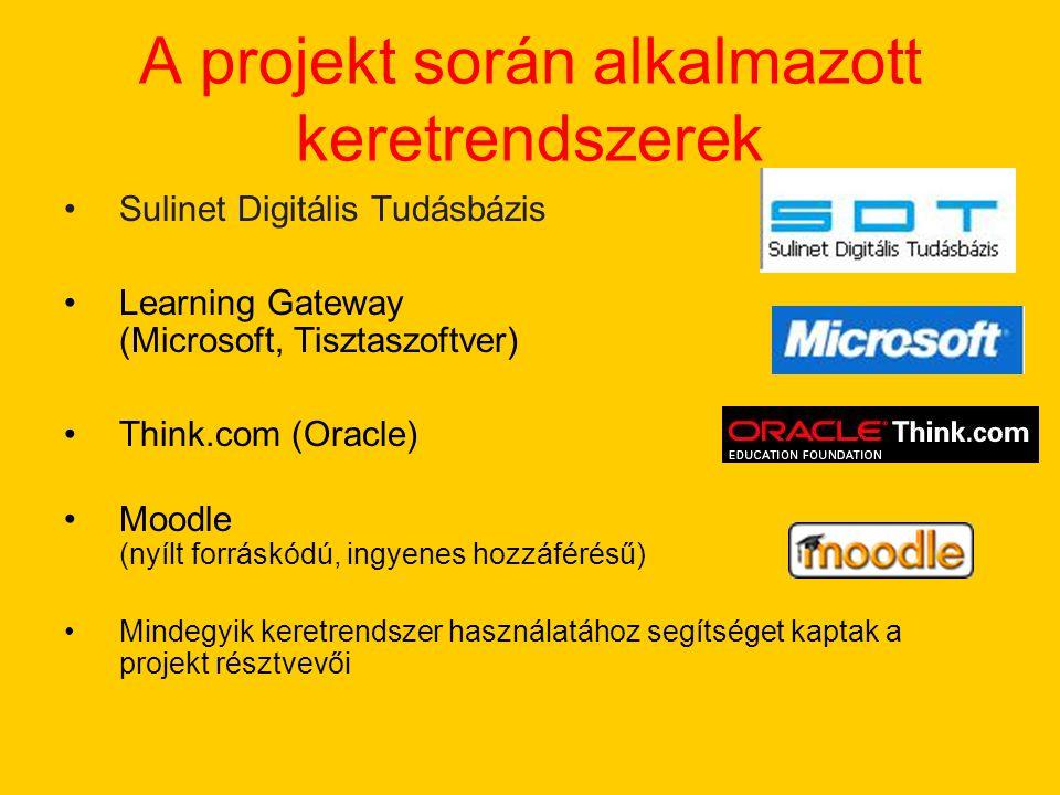 A projekt során alkalmazott keretrendszerek Sulinet Digitális Tudásbázis Learning Gateway (Microsoft, Tisztaszoftver) Think.com (Oracle) Moodle (nyílt forráskódú, ingyenes hozzáférésű) Mindegyik keretrendszer használatához segítséget kaptak a projekt résztvevői