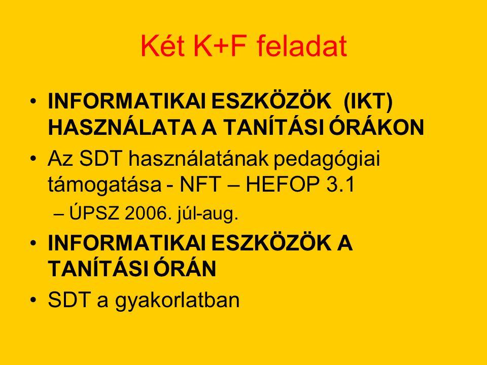 Két K+F feladat INFORMATIKAI ESZKÖZÖK (IKT) HASZNÁLATA A TANÍTÁSI ÓRÁKON Az SDT használatának pedagógiai támogatása - NFT – HEFOP 3.1 –ÚPSZ 2006.