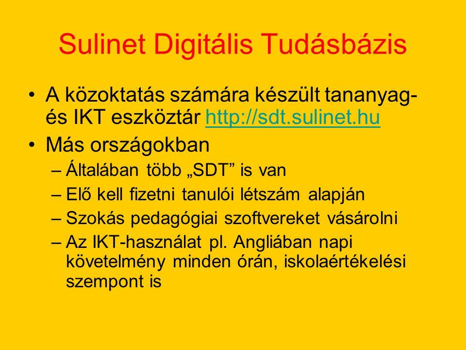 """Sulinet Digitális Tudásbázis A közoktatás számára készült tananyag- és IKT eszköztár http://sdt.sulinet.huhttp://sdt.sulinet.hu Más országokban –Általában több """"SDT is van –Elő kell fizetni tanulói létszám alapján –Szokás pedagógiai szoftvereket vásárolni –Az IKT-használat pl."""