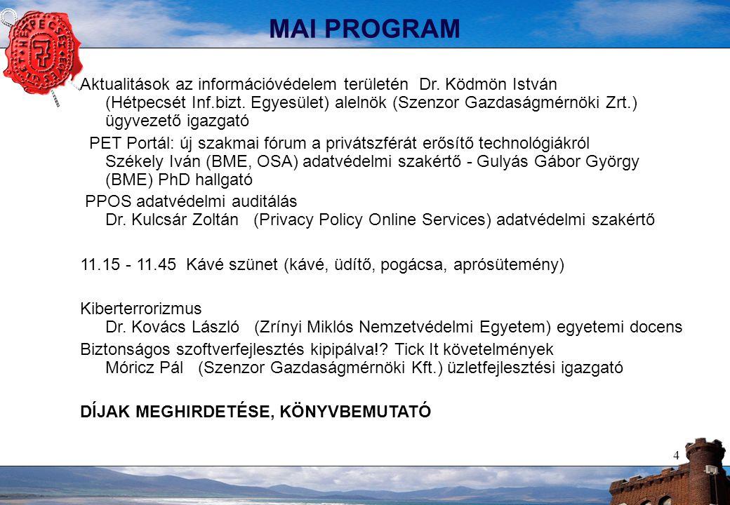 4 MAI PROGRAM Aktualitások az információvédelem területén Dr.