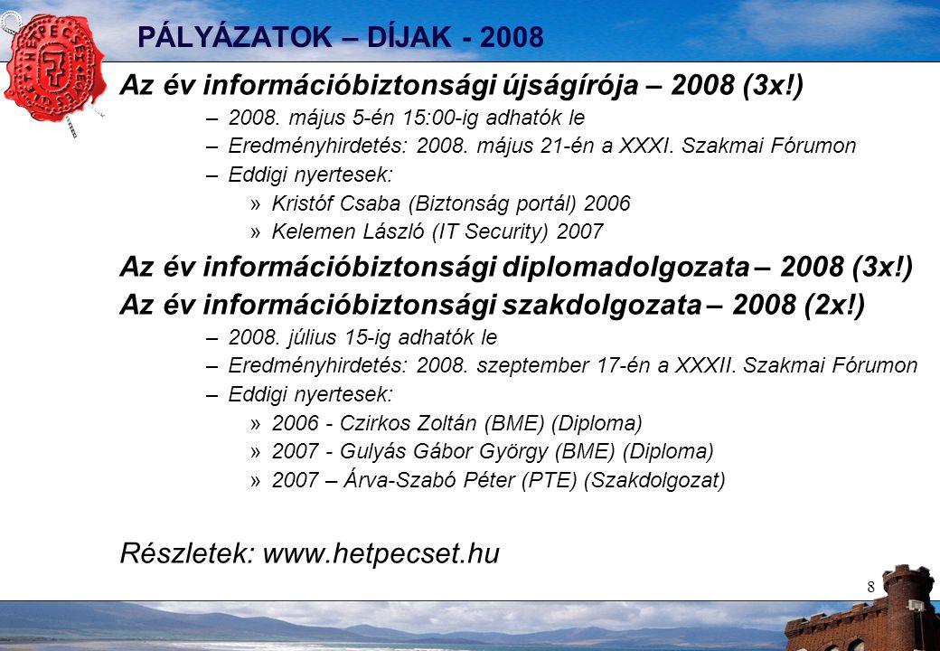 8 PÁLYÁZATOK – DÍJAK - 2008 Az év információbiztonsági újságírója – 2008 (3x!) –2008.