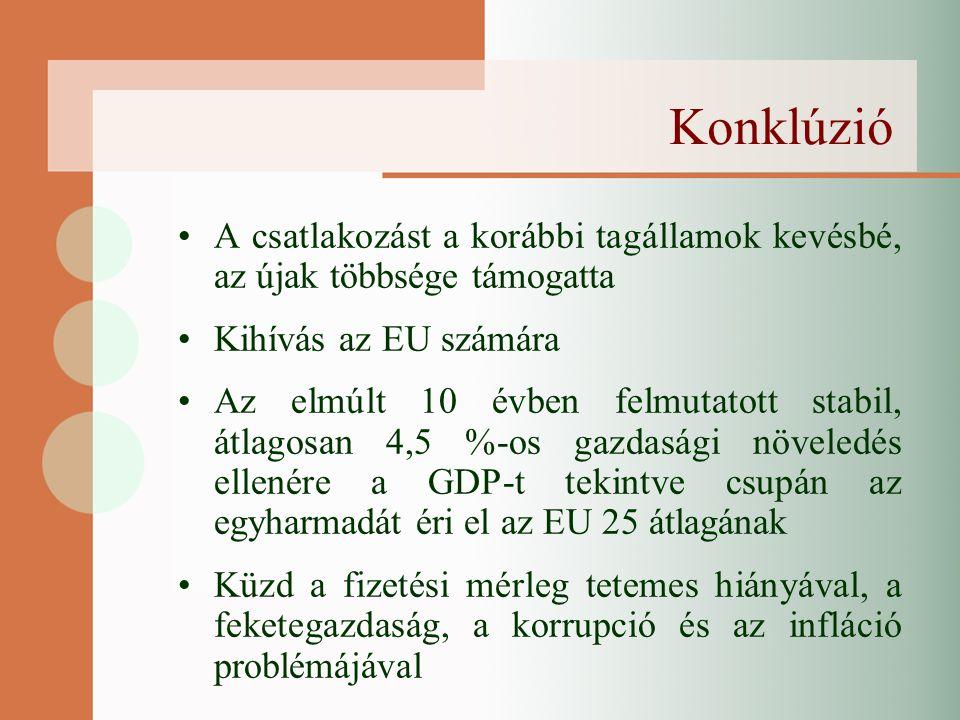 Konklúzió A csatlakozást a korábbi tagállamok kevésbé, az újak többsége támogatta Kihívás az EU számára Az elmúlt 10 évben felmutatott stabil, átlagosan 4,5 %-os gazdasági növeledés ellenére a GDP-t tekintve csupán az egyharmadát éri el az EU 25 átlagának Küzd a fizetési mérleg tetemes hiányával, a feketegazdaság, a korrupció és az infláció problémájával