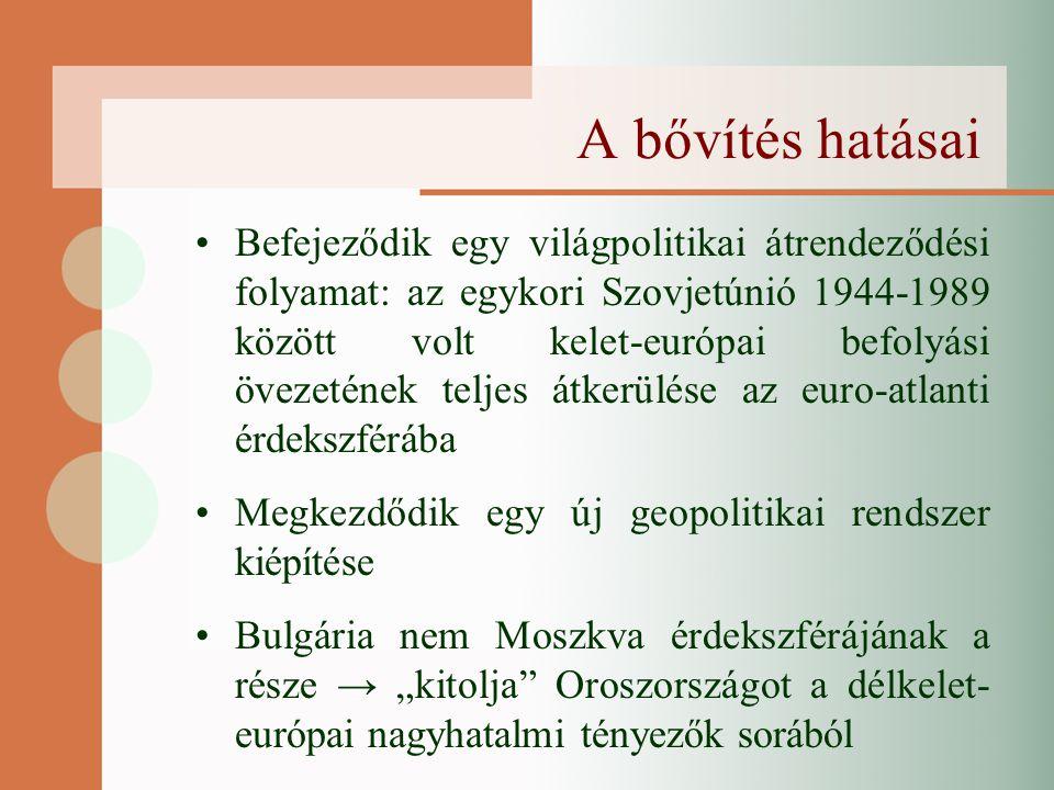 """A bővítés hatásai Befejeződik egy világpolitikai átrendeződési folyamat: az egykori Szovjetúnió 1944-1989 között volt kelet-európai befolyási övezetének teljes átkerülése az euro-atlanti érdekszférába Megkezdődik egy új geopolitikai rendszer kiépítése Bulgária nem Moszkva érdekszférájának a része → """"kitolja Oroszországot a délkelet- európai nagyhatalmi tényezők sorából"""