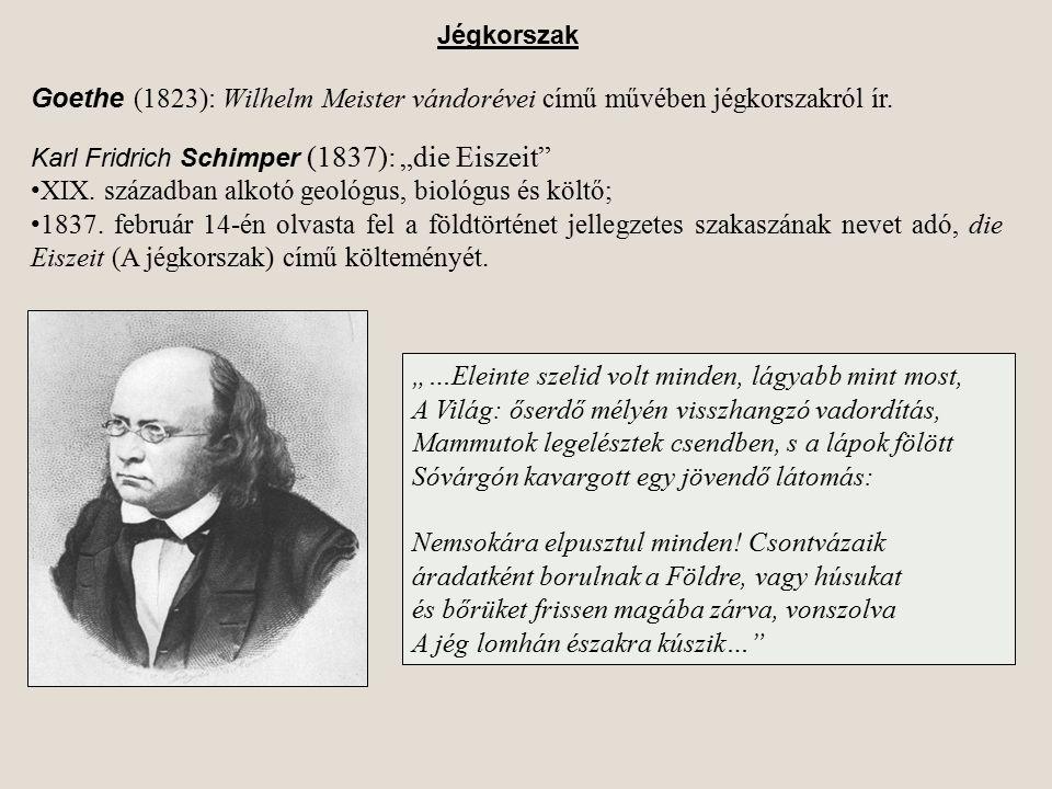 """Goethe (1823): Wilhelm Meister vándorévei című művében jégkorszakról ír. Karl Fridrich Schimper (1837): """"die Eiszeit"""" XIX. században alkotó geológus,"""
