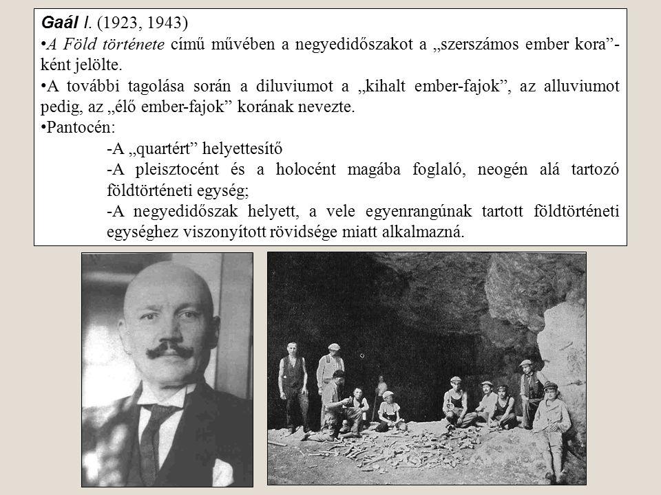 """Gaál I. (1923, 1943) A Föld története című művében a negyedidőszakot a """"szerszámos ember kora""""- ként jelölte. A további tagolása során a diluviumot a"""