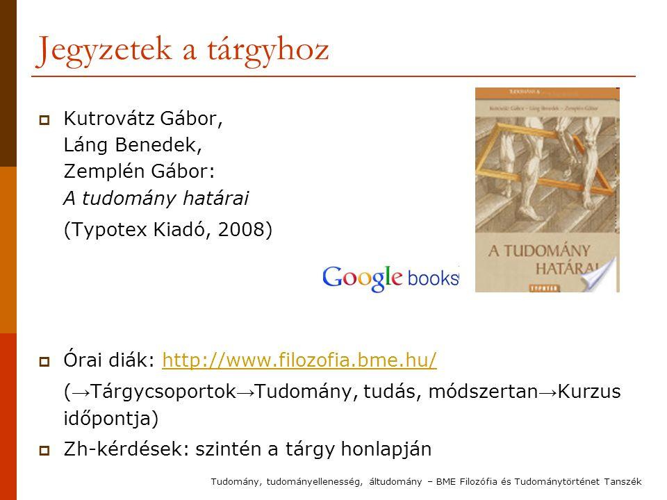Jegyzetek a tárgyhoz  Kutrovátz Gábor, Láng Benedek, Zemplén Gábor: A tudomány határai (Typotex Kiadó, 2008)  Órai diák: http://www.filozofia.bme.hu