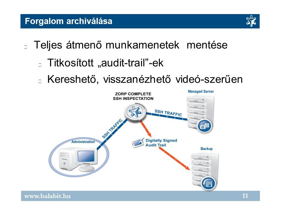 """11 www.balabit.hu Forgalom archiválása Teljes átmenő munkamenetek mentése Titkosított """"audit-trail""""-ek Kereshető, visszanézhető videó-szerűen"""