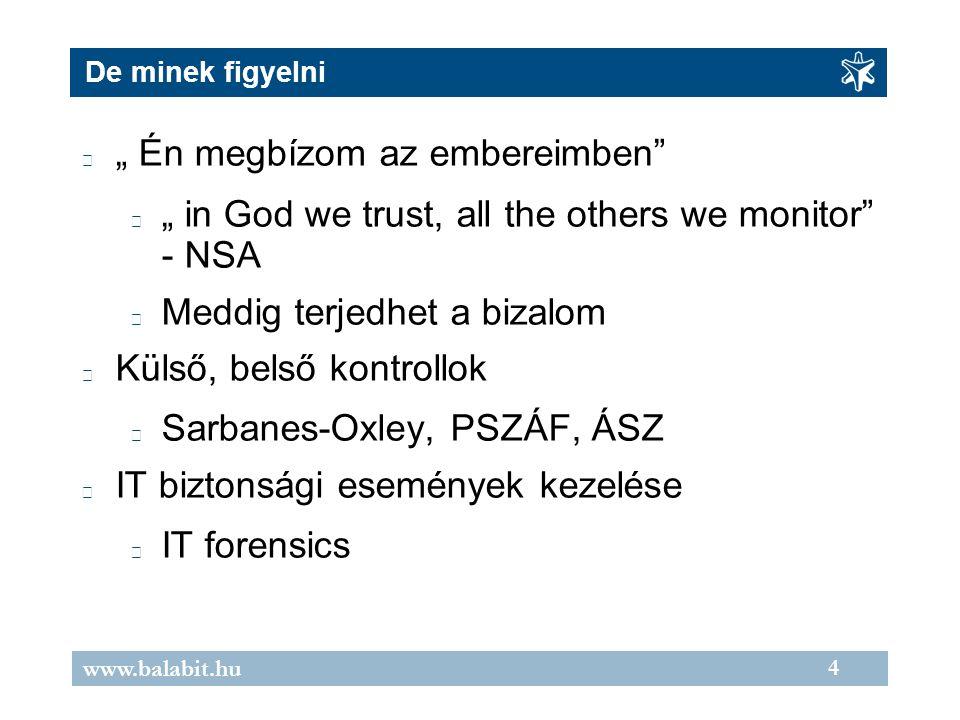 """4 www.balabit.hu De minek figyelni """" Én megbízom az embereimben """" in God we trust, all the others we monitor - NSA Meddig terjedhet a bizalom Külső, belső kontrollok Sarbanes-Oxley, PSZÁF, ÁSZ IT biztonsági események kezelése IT forensics"""