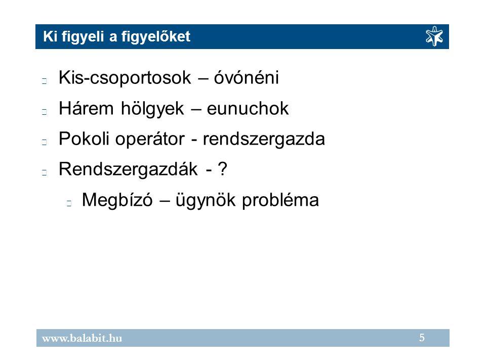 5 www.balabit.hu Ki figyeli a figyelőket Kis-csoportosok – óvónéni Hárem hölgyek – eunuchok Pokoli operátor - rendszergazda Rendszergazdák - .