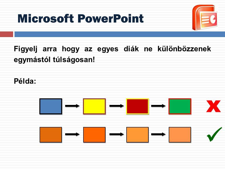 Microsoft PowerPoint Figyelj arra hogy az egyes diák ne különbözzenek egymástól túlságosan! Példa: x
