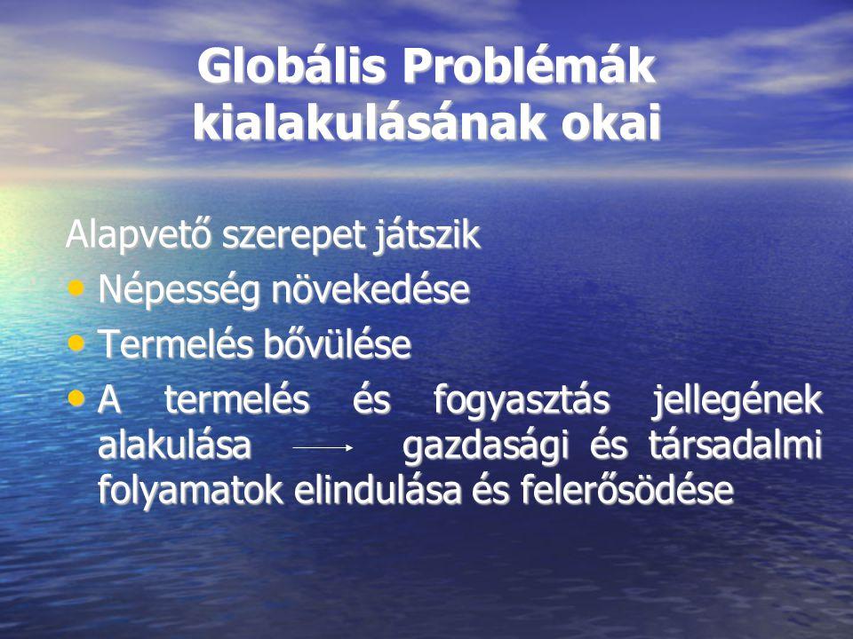 Globális Problémák kialakulásának okai Alapvető szerepet játszik Népesség növekedése Népesség növekedése Termelés bővülése Termelés bővülése A termelé