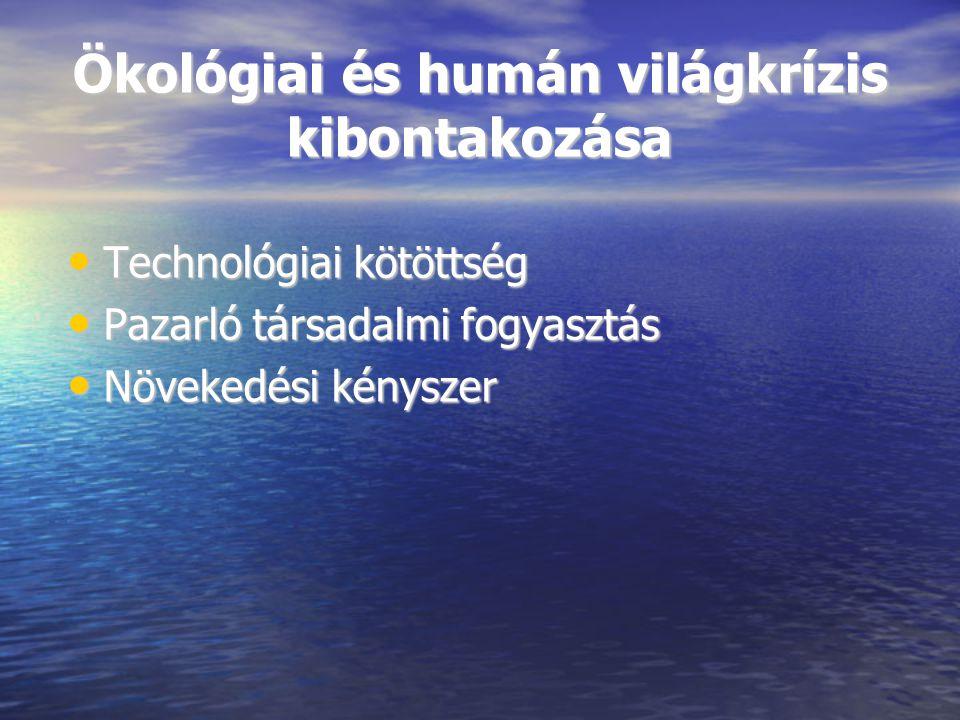 Ökológiai és humán világkrízis kibontakozása Technológiai kötöttség Technológiai kötöttség Pazarló társadalmi fogyasztás Pazarló társadalmi fogyasztás Növekedési kényszer Növekedési kényszer