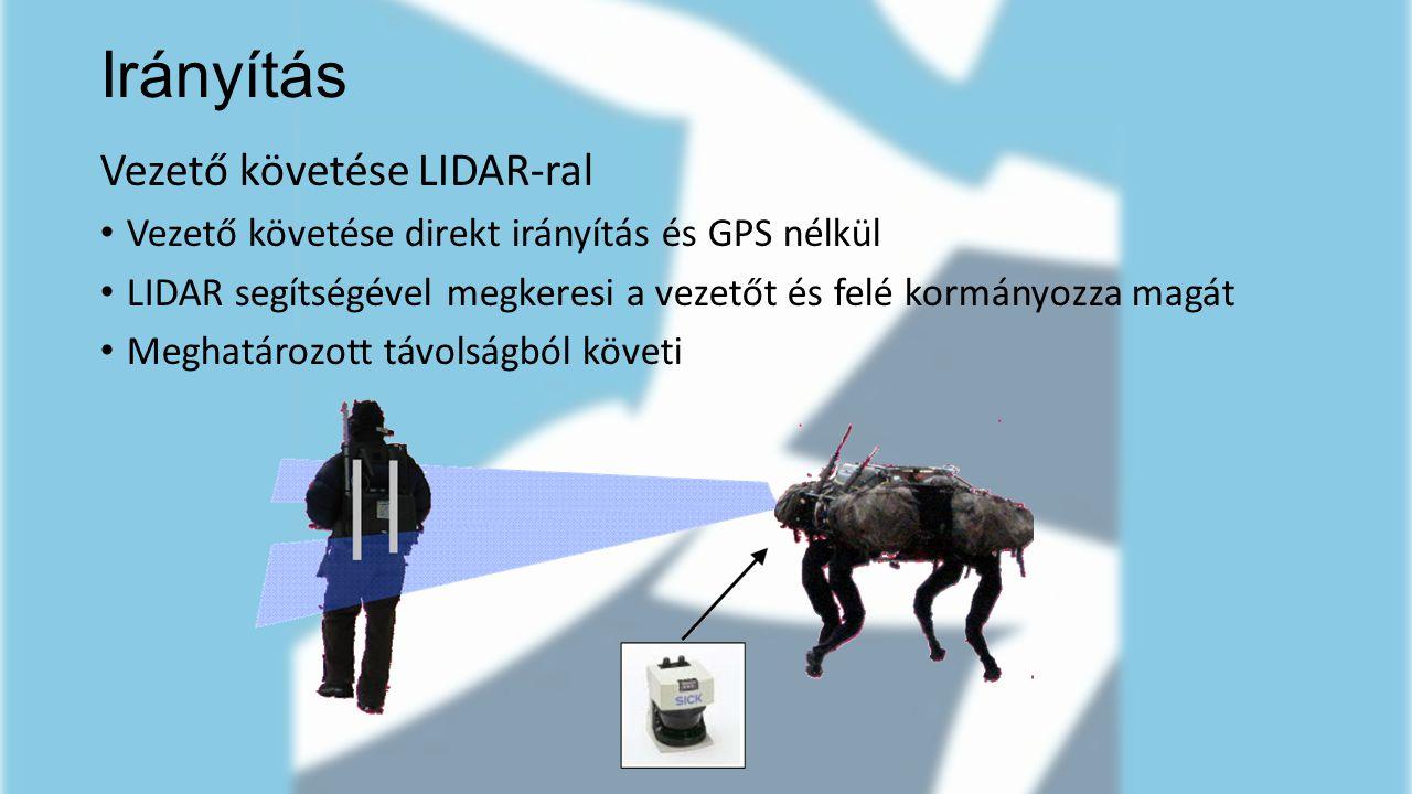Vezető követése LIDAR-ral Vezető követése direkt irányítás és GPS nélkül LIDAR segítségével megkeresi a vezetőt és felé kormányozza magát Meghatározot