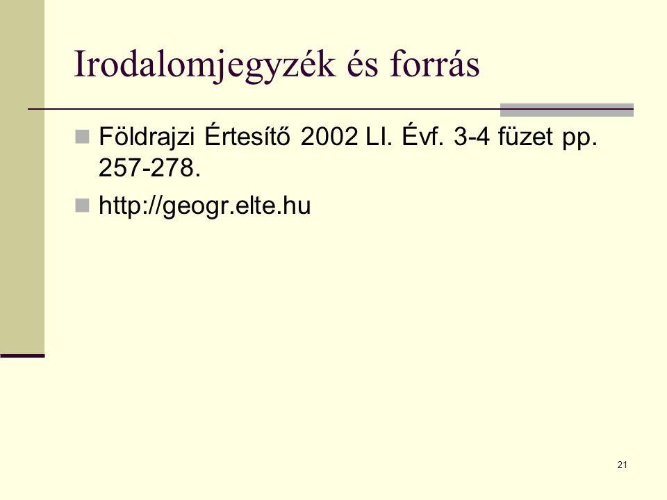 21 Irodalomjegyzék és forrás Földrajzi Értesítő 2002 LI. Évf. 3-4 füzet pp. 257-278. http://geogr.elte.hu