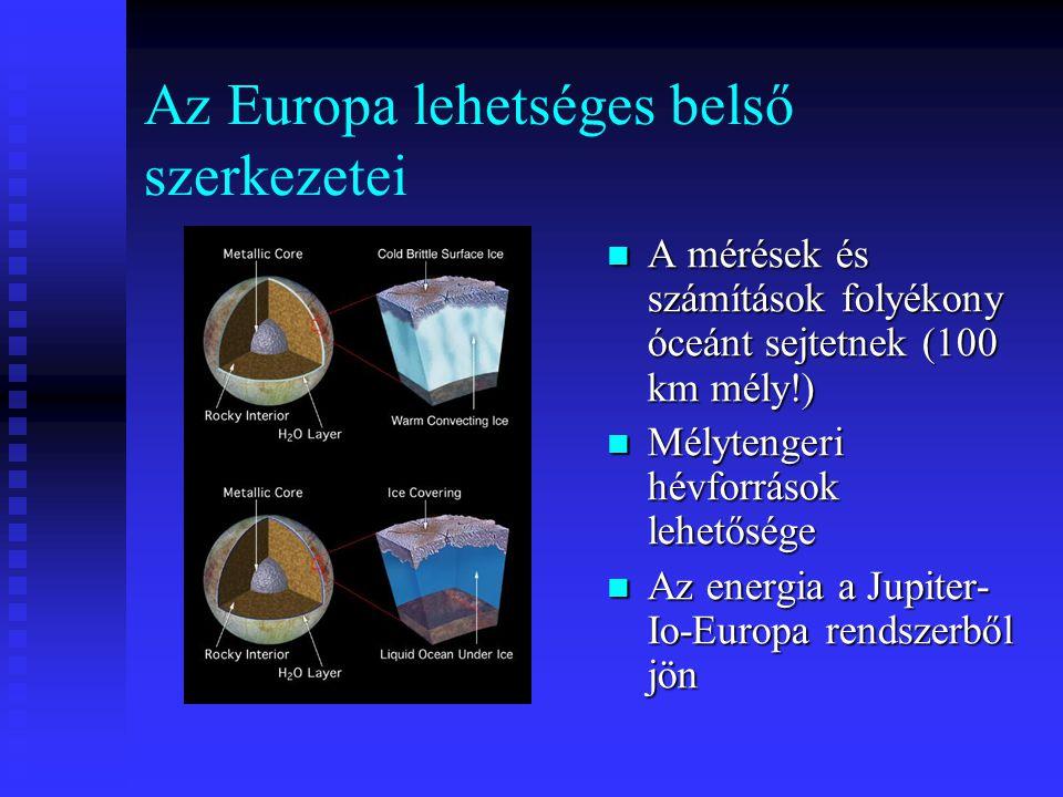 Az Europa lehetséges belső szerkezetei A mérések és számítások folyékony óceánt sejtetnek (100 km mély!) Mélytengeri hévforrások lehetősége Az energia