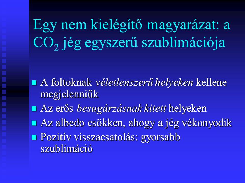 Egy nem kielégítő magyarázat: a CO 2 jég egyszerű szublimációja A foltoknak véletlenszerű helyeken kellene megjelenniük A foltoknak véletlenszerű hely