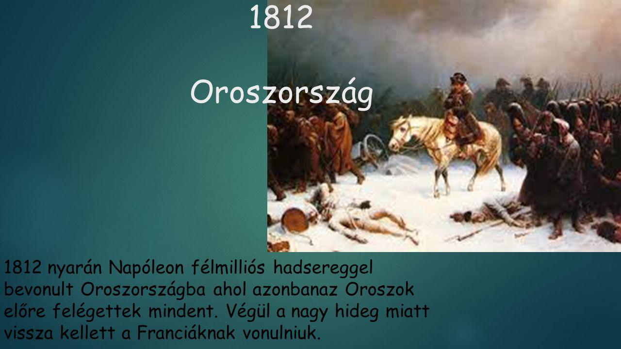 1812 Oroszország 1812 nyarán Napóleon félmilliós hadsereggel bevonult Oroszországba ahol azonbanaz Oroszok előre felégettek mindent. Végül a nagy hide