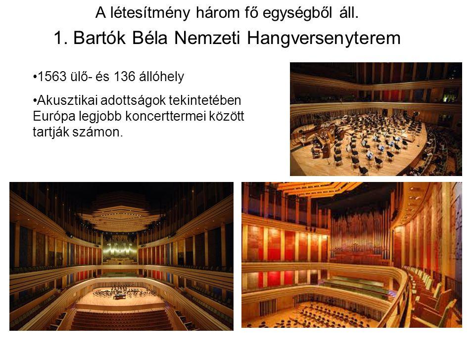 A létesítmény három fő egységből áll. 1. Bartók Béla Nemzeti Hangversenyterem 1563 ülő- és 136 állóhely Akusztikai adottságok tekintetében Európa legj
