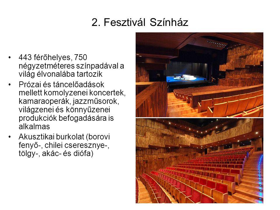 443 férőhelyes, 750 négyzetméteres színpadával a világ élvonalába tartozik Prózai és táncelőadások mellett komolyzenei koncertek, kamaraoperák, jazzműsorok, világzenei és könnyűzenei produkciók befogadására is alkalmas Akusztikai burkolat (borovi fenyő-, chilei cseresznye-, tölgy-, akác- és diófa) 2.