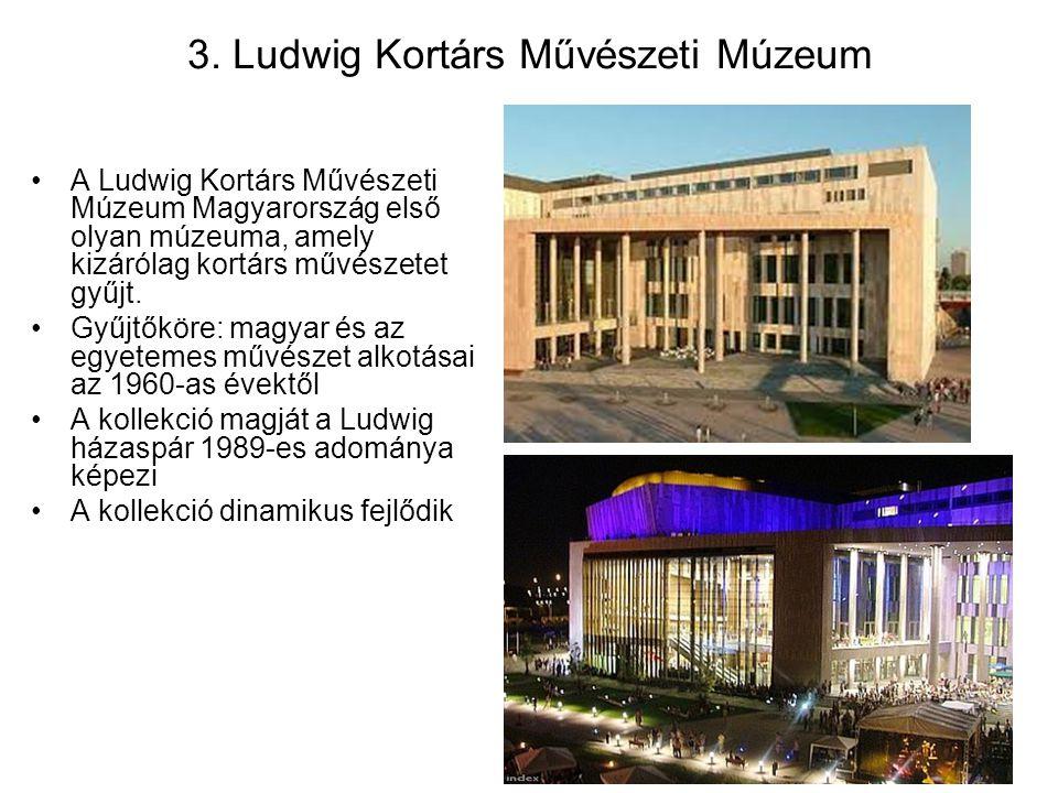 3. Ludwig Kortárs Művészeti Múzeum A Ludwig Kortárs Művészeti Múzeum Magyarország első olyan múzeuma, amely kizárólag kortárs művészetet gyűjt. Gyűjtő