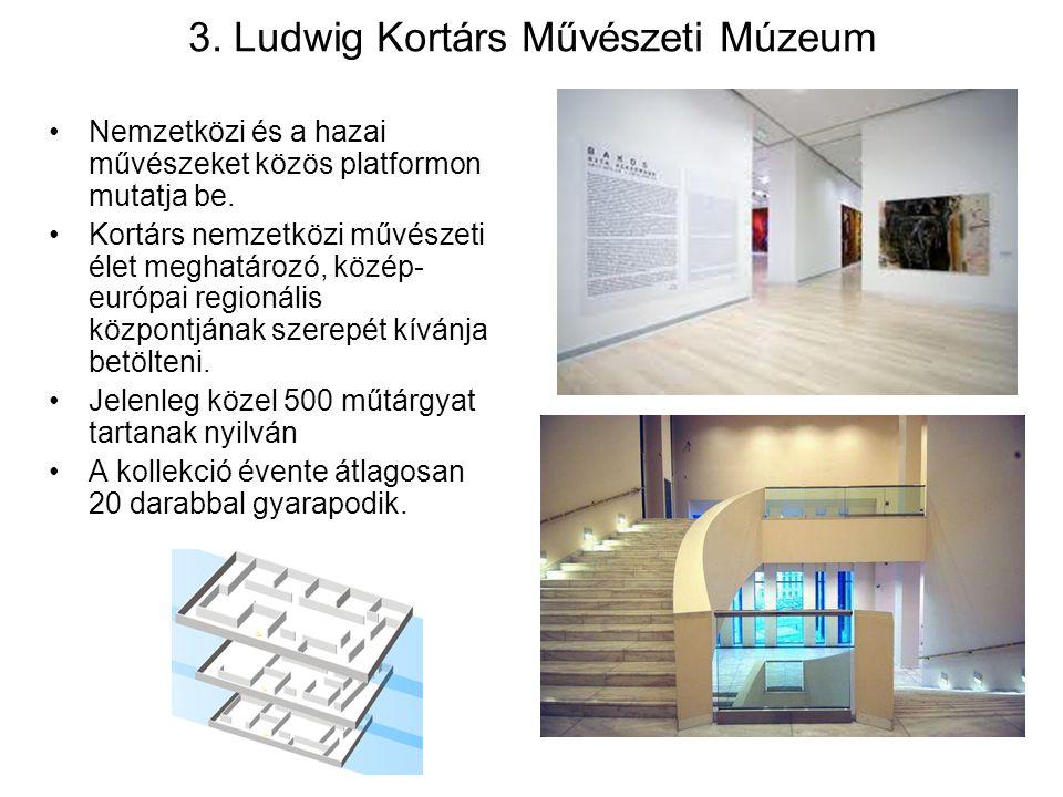 3. Ludwig Kortárs Művészeti Múzeum Nemzetközi és a hazai művészeket közös platformon mutatja be. Kortárs nemzetközi művészeti élet meghatározó, közép-