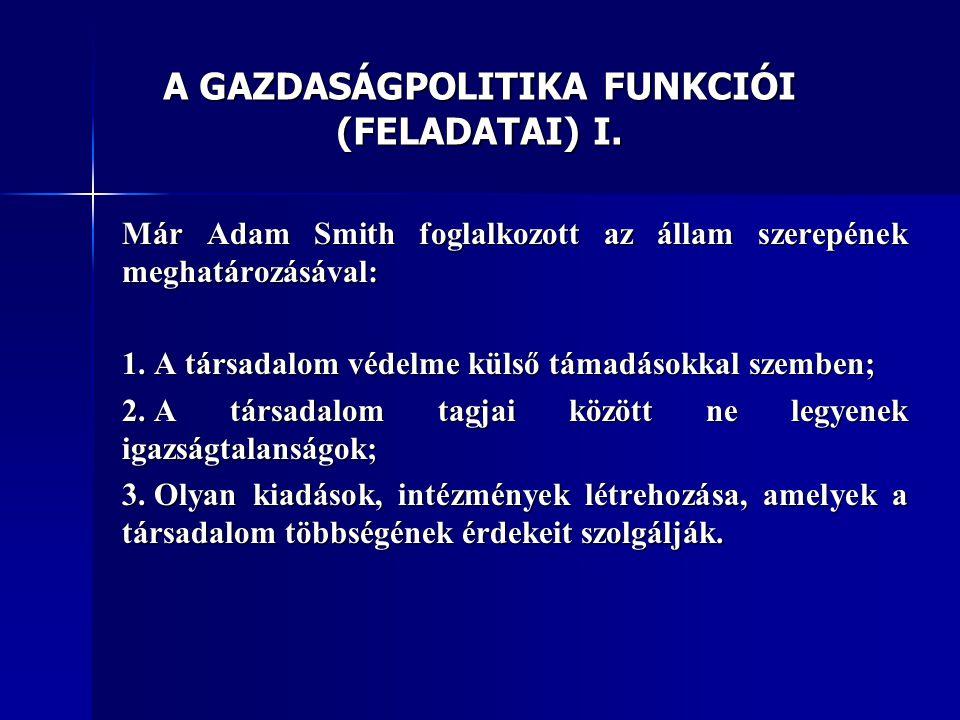 A GAZDASÁGPOLITIKA FUNKCIÓI (FELADATAI) I.