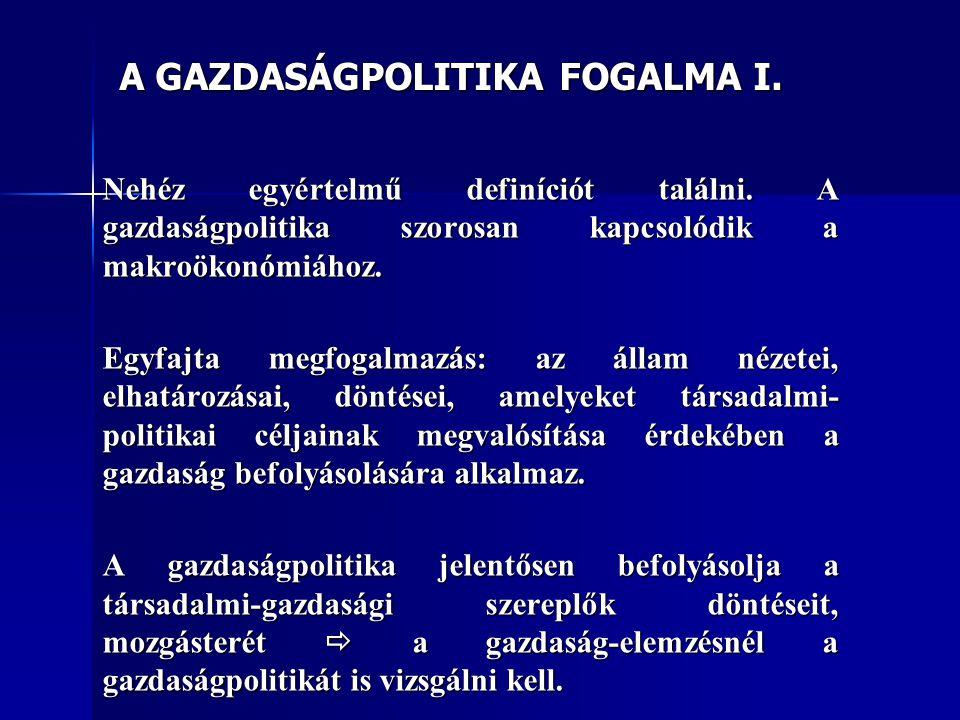 A GAZDASÁGPOLITIKA FOGALMA I. Nehéz egyértelmű definíciót találni.
